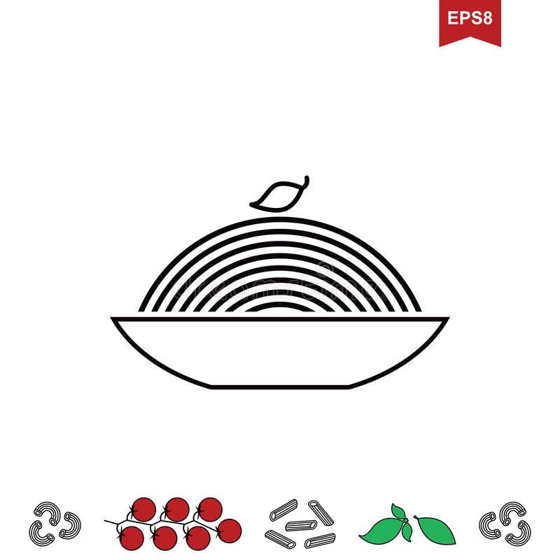 Spaghetti- oder Nudelikone stock abbildung