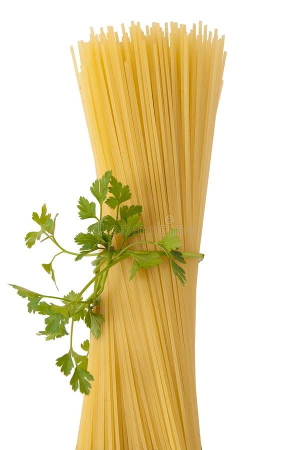 spaghetti odosobniony biel obraz stock