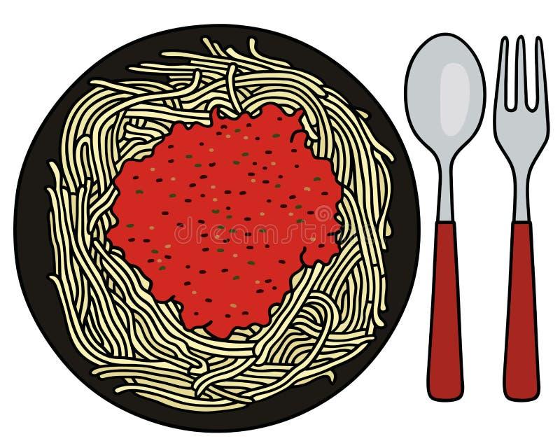 Spaghetti op de plaat royalty-vrije illustratie