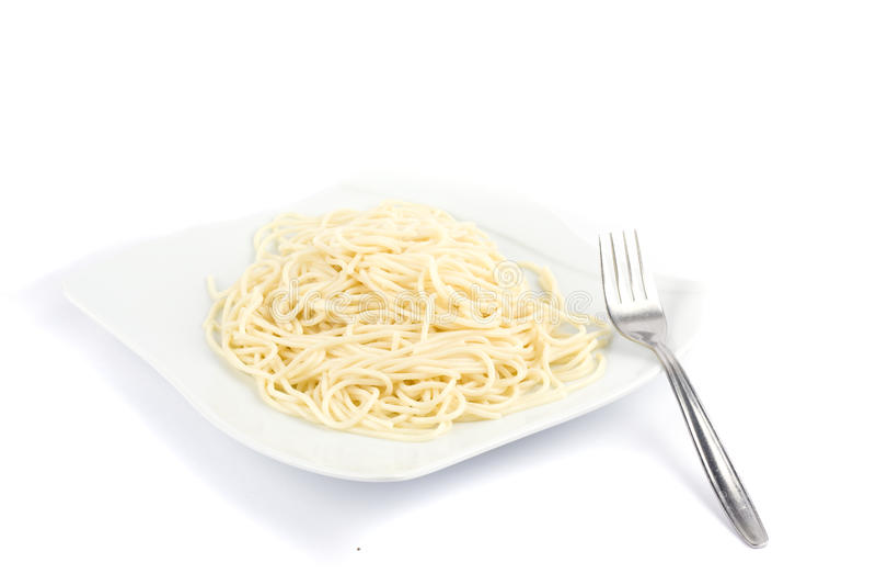 Spaghetti op een witte achtergrond royalty-vrije stock foto's