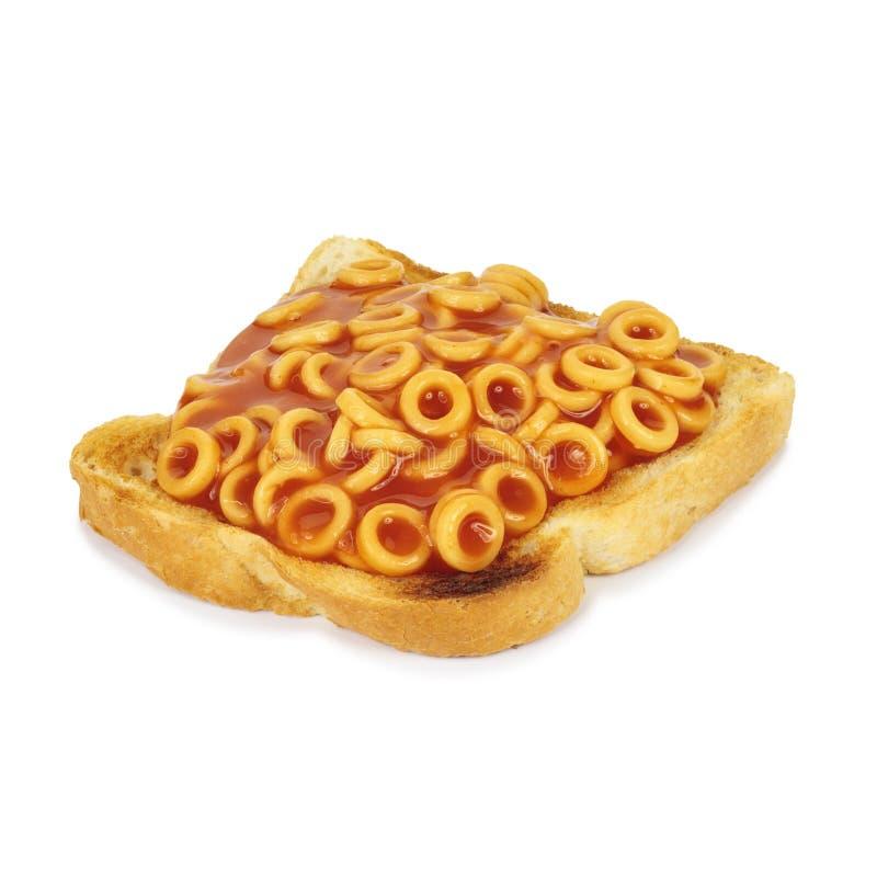 Spaghetti op toost. stock foto's