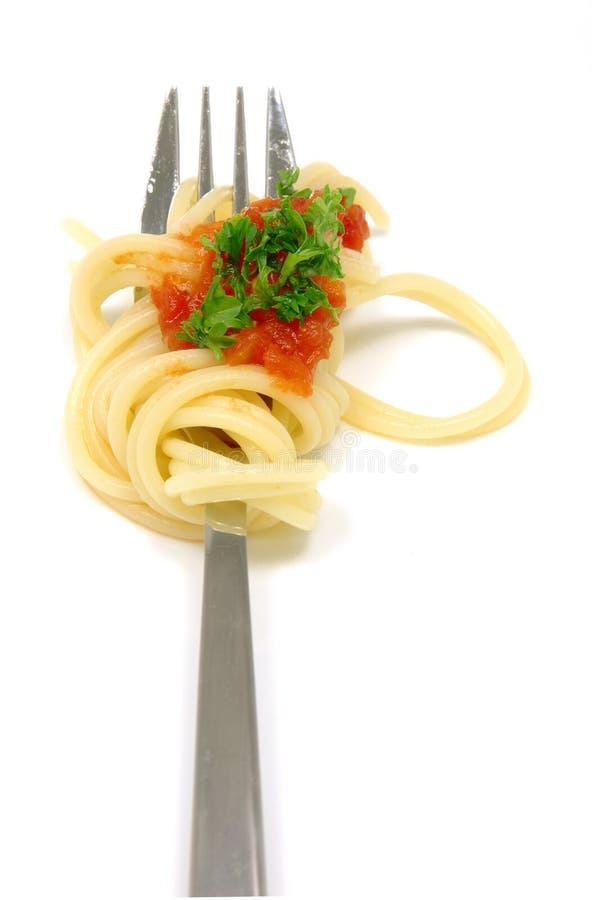 Spaghetti op vork royalty-vrije stock afbeelding