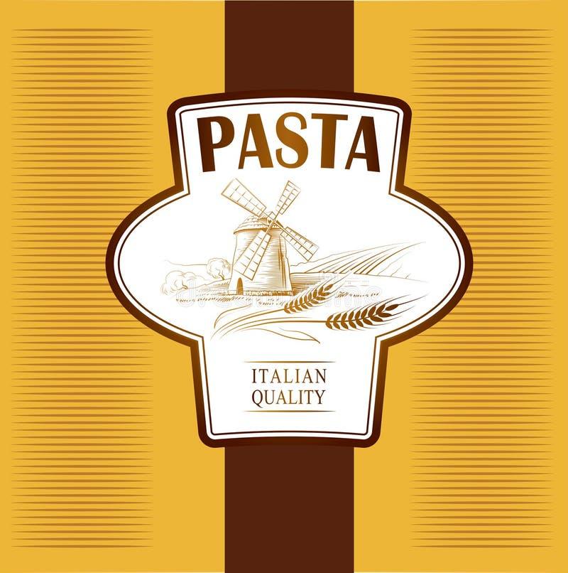 Spaghetti. pâtes. Boulangerie. labels, paquet pour le spaghet illustration de vecteur