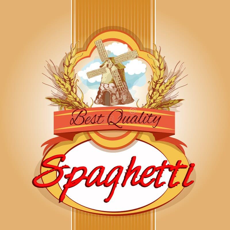 Spaghetti paczki etykietka royalty ilustracja