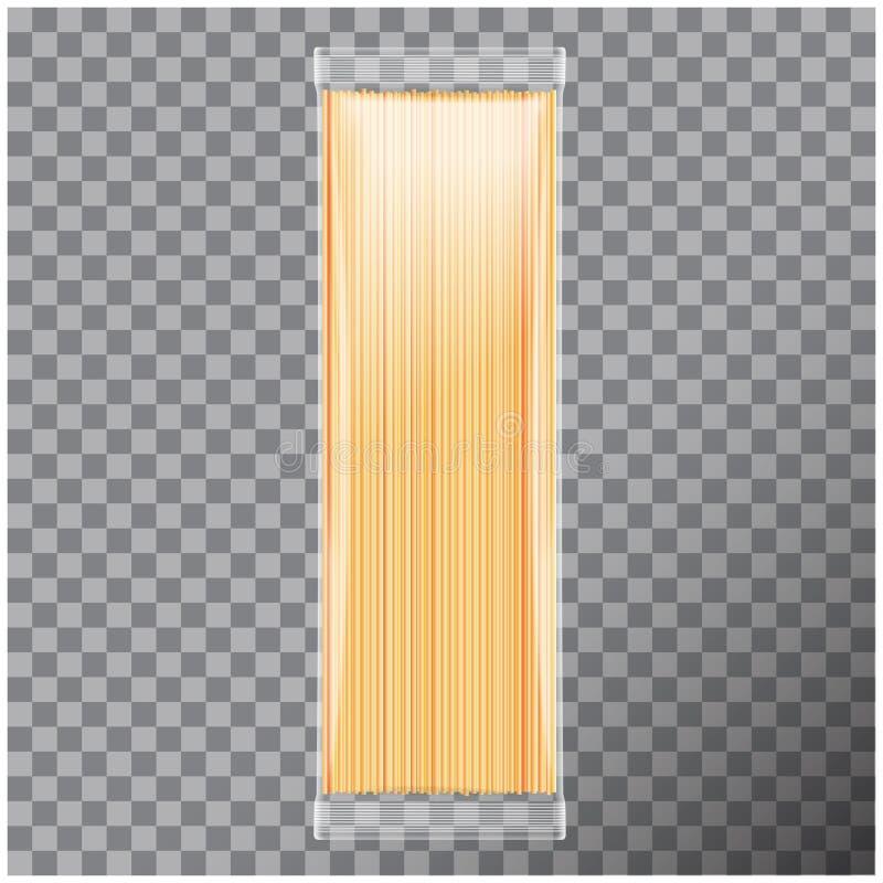 Spaghetti, paquet transparent de pâtes de capellini, d'isolement sur le fond transparent Moquerie de vecteur vers le haut d'illus illustration stock