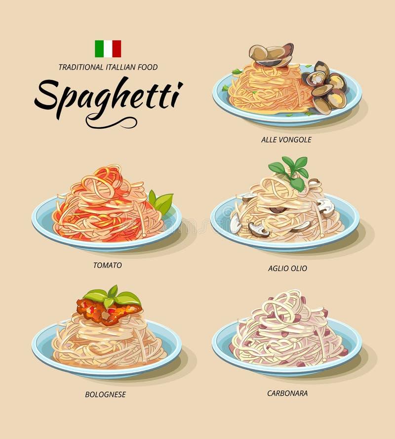 Spaghetti or pasta dishes vector set in cartoon vector illustration