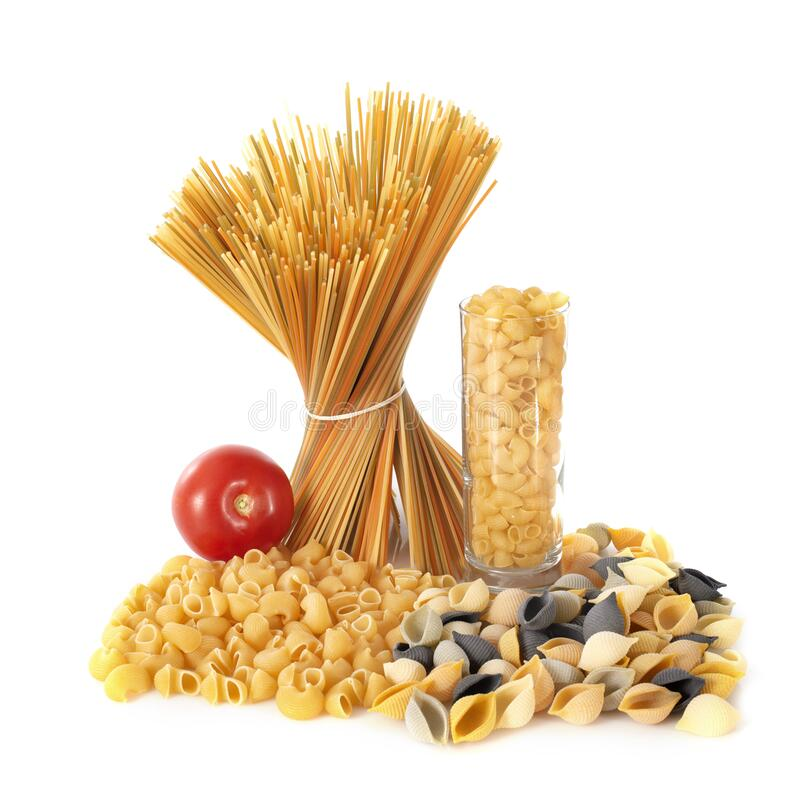 Spaghetti and pasta. In front of white background royalty free stock photography