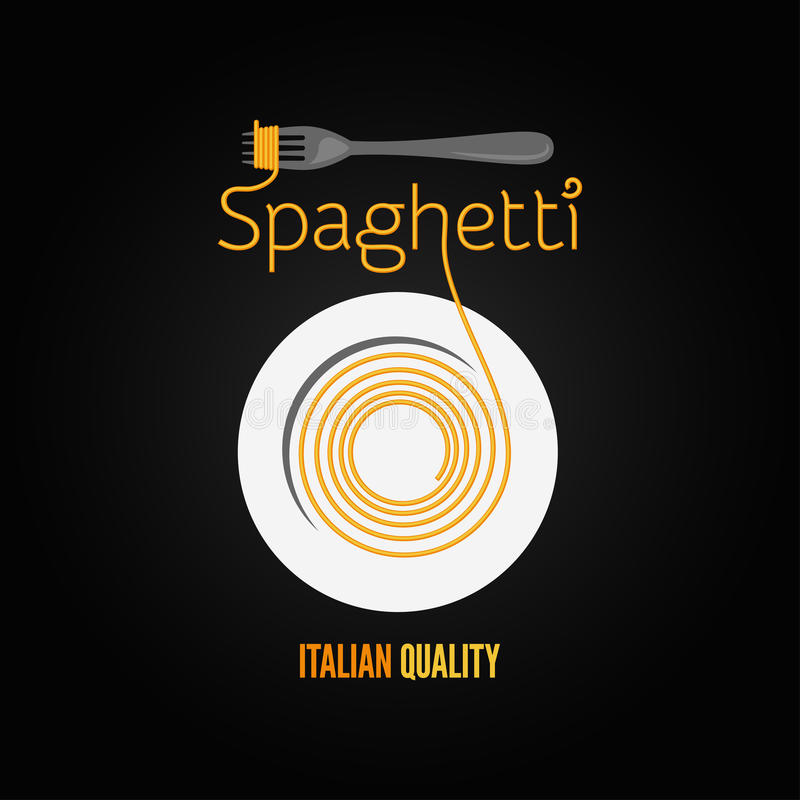 Spaghetti pasta plate fork menu background royalty free illustration