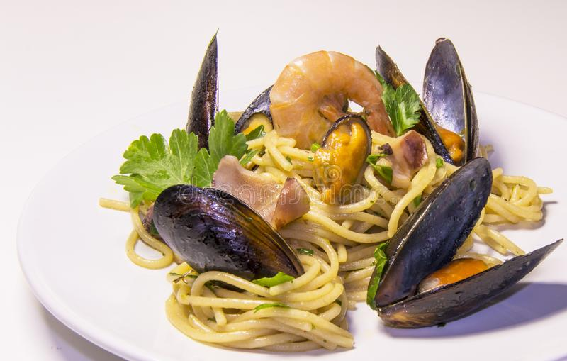 Spaghetti pasta seafood Italian culture , Mediterranean cuisine. Restaurant healthy meal royalty free stock photography