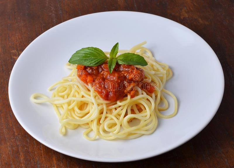 Spaghetti pasta with tomato beef sauce stock photography