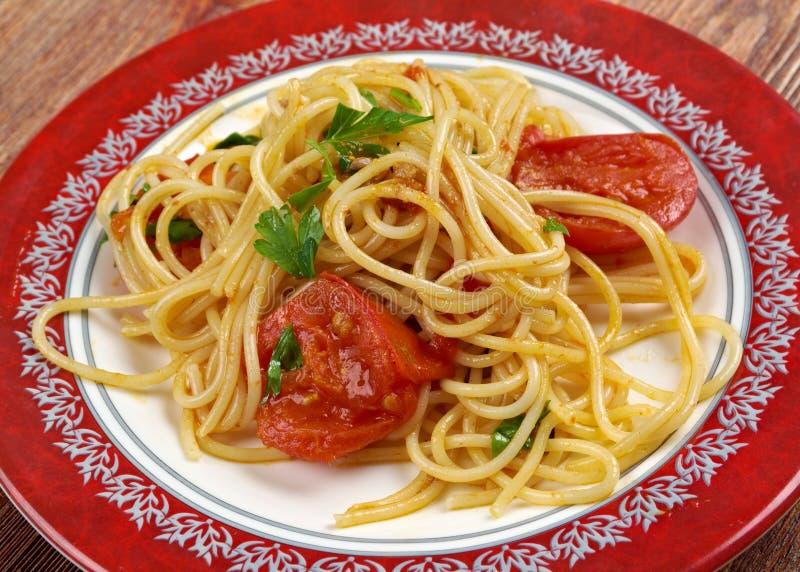 Spaghetti Piccanti al Pomodoro fresk obrazy stock