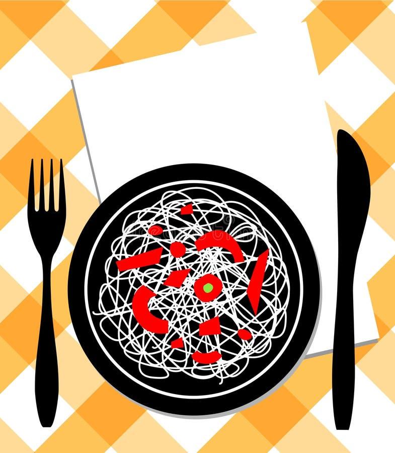 Spaghetti on plate, knife & fork royalty free illustration