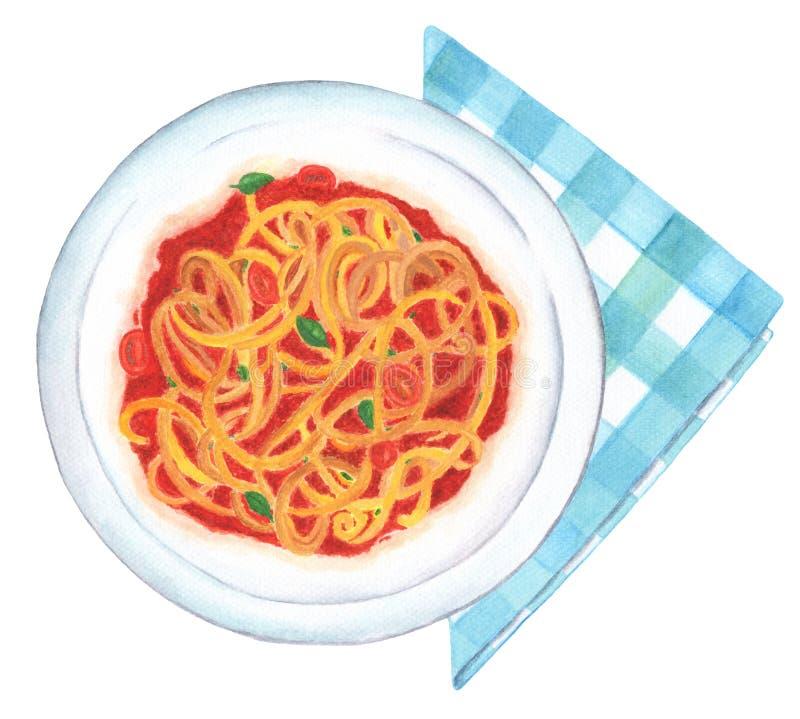 Spaghetti pomodoro obraz ilustracja wektor