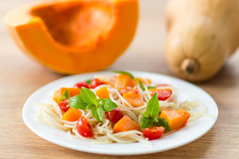 Download Spaghetti with pumpkin stock image. Image of cooked, italian - 33405189