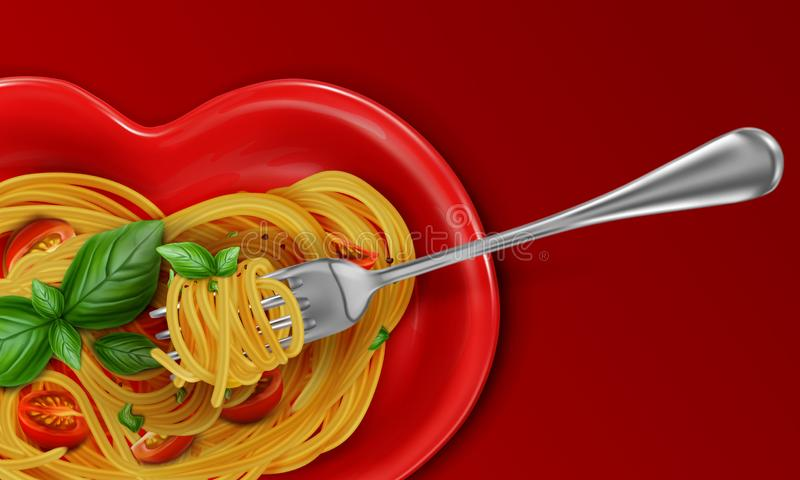 Spaghetti on a red heart-shaped plate with red cherry tomatoes and green basil leaves with a fork. vector illustration