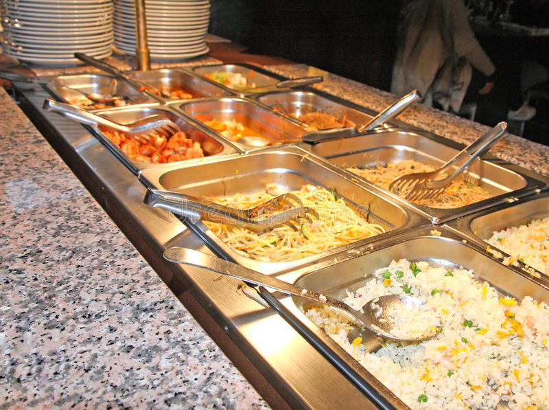 Spaghetti or rice in the company canteen. Tray with spaghetti or rice in the company canteen stock photos