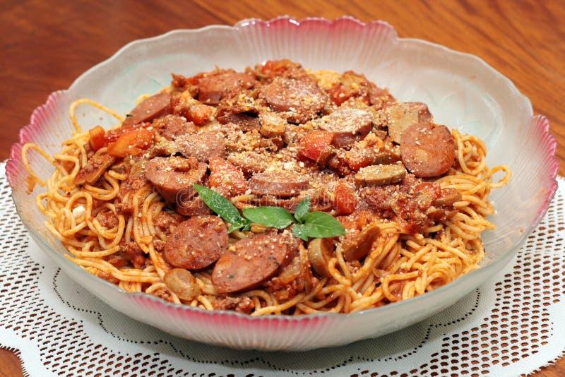 Spaghetti sausage pasta royalty free stock photography
