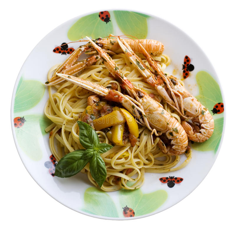 Download Spaghetti with scampi stock image. Image of palatable - 10689081