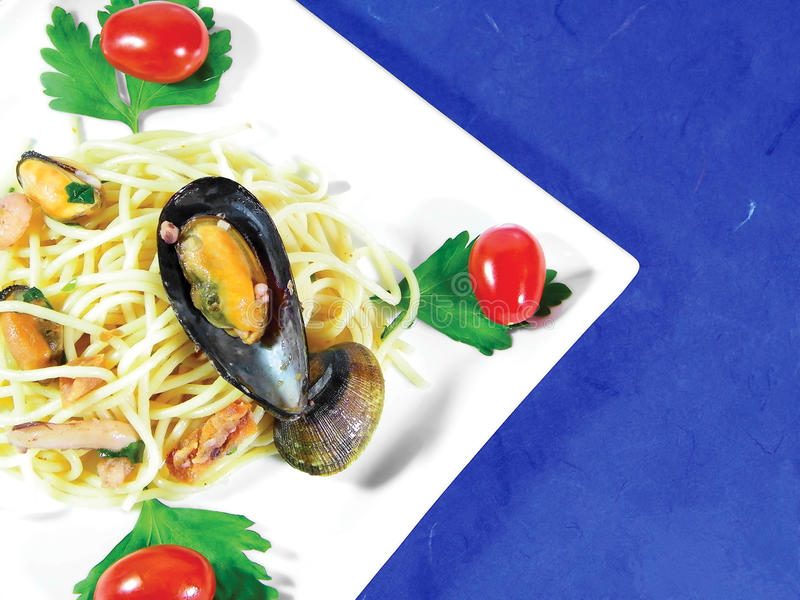 Download Spaghetti With Seafood stock image. Image of tomato, dish - 14181111