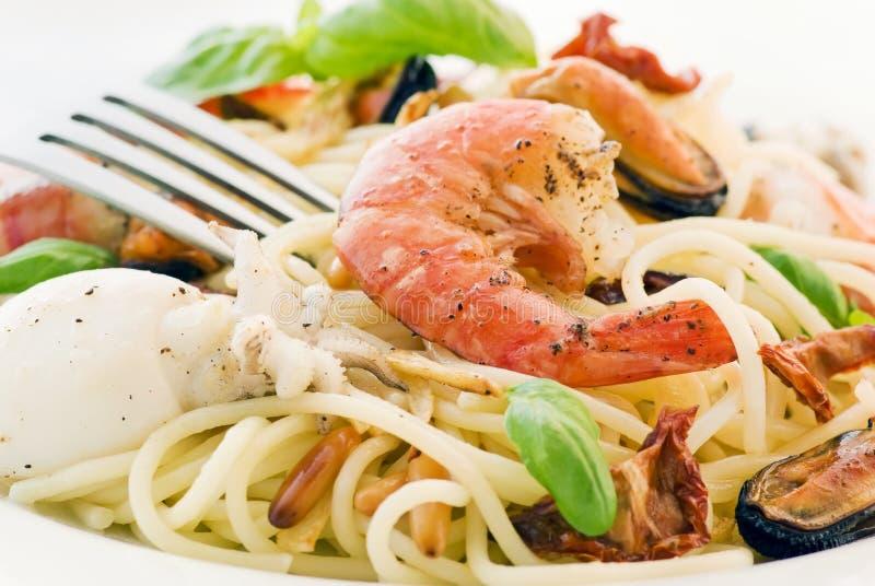 Spaghetti with Seafood stock image