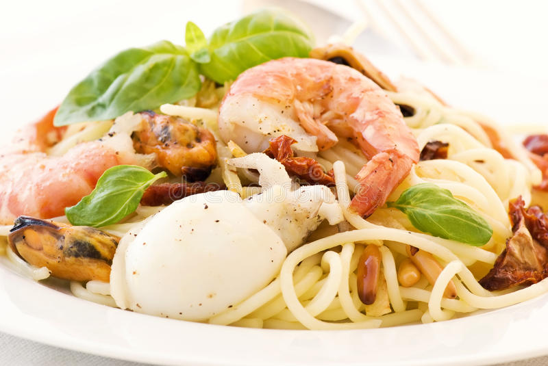 Download Spaghetti with Seafood stock photo. Image of light, italian - 17153988