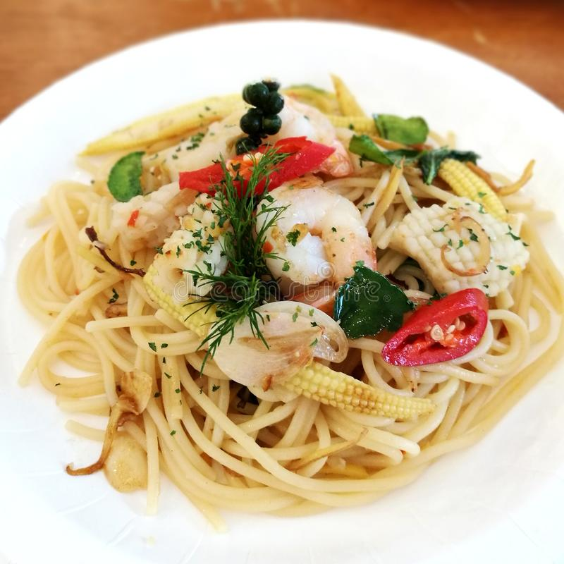 Spaghetti Seafood stock image