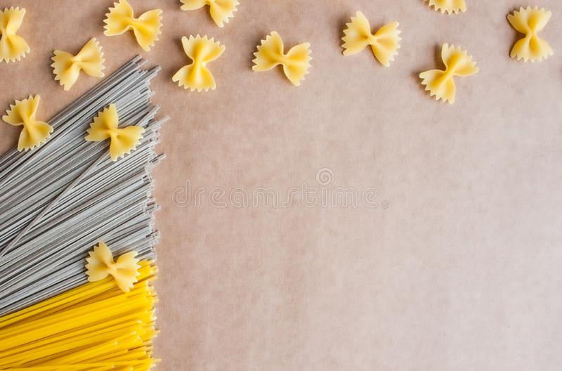 Spaghetti, soba and farfalle royalty free stock images