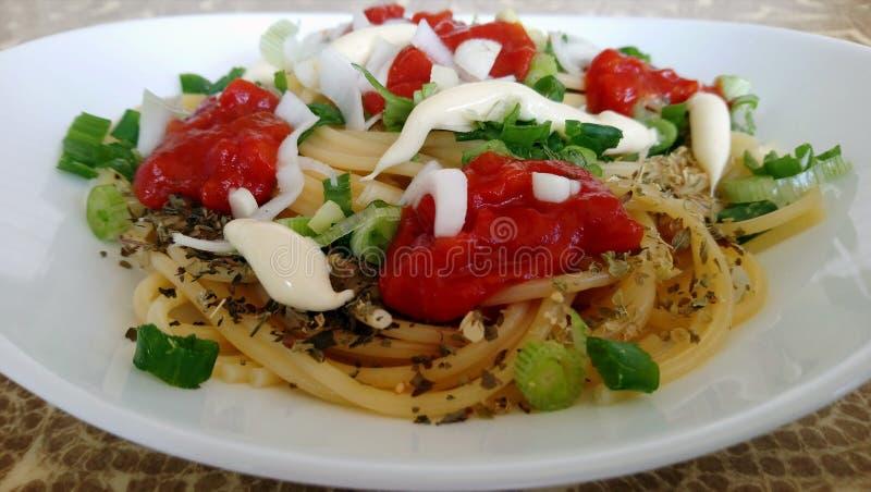 Spaghetti spilced photo stock