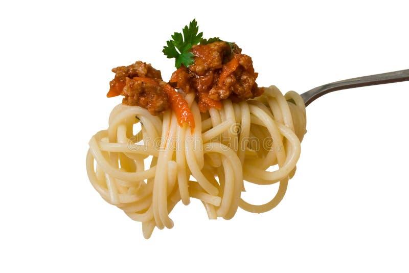 Spaghetti sulla forcella immagine stock