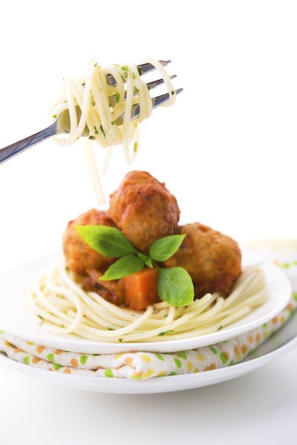 Spaghetti sur une fourchette image stock