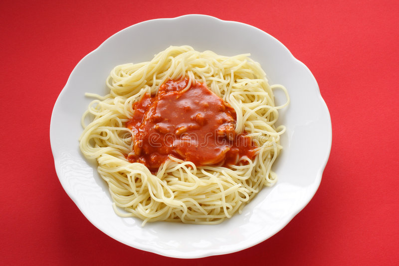 Download Spaghetti With Tomato Sauce Stock Image - Image of pastries, healthy: 1706897