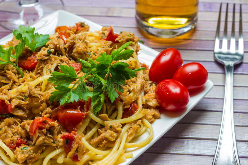 Spaghetti with tuna royalty free stock images
