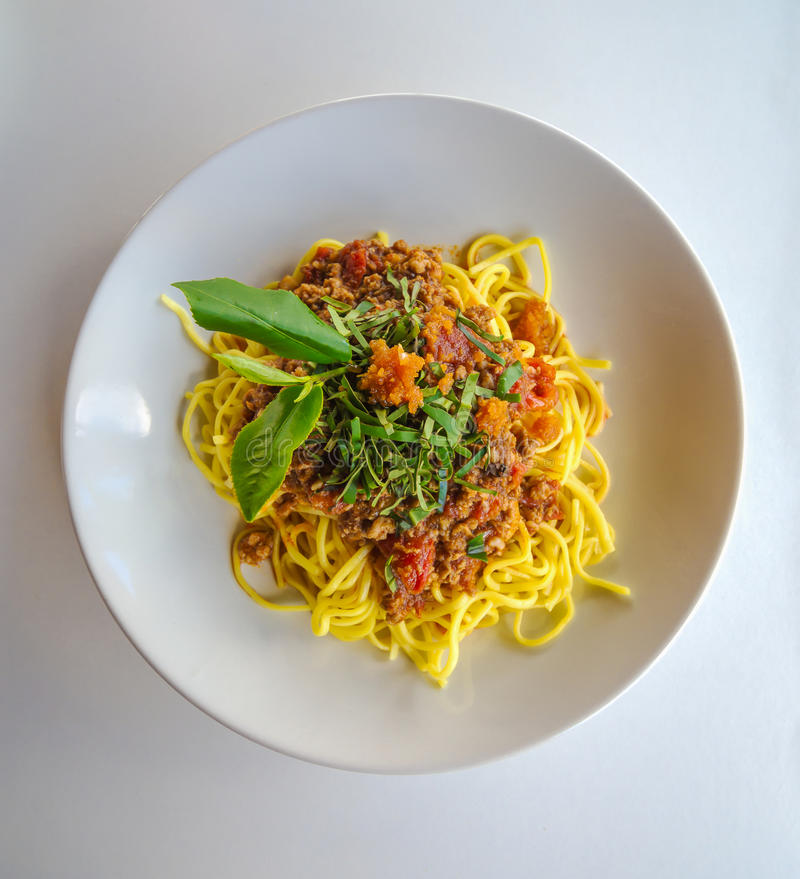Spaghetti with tuna and green tea royalty free stock photo