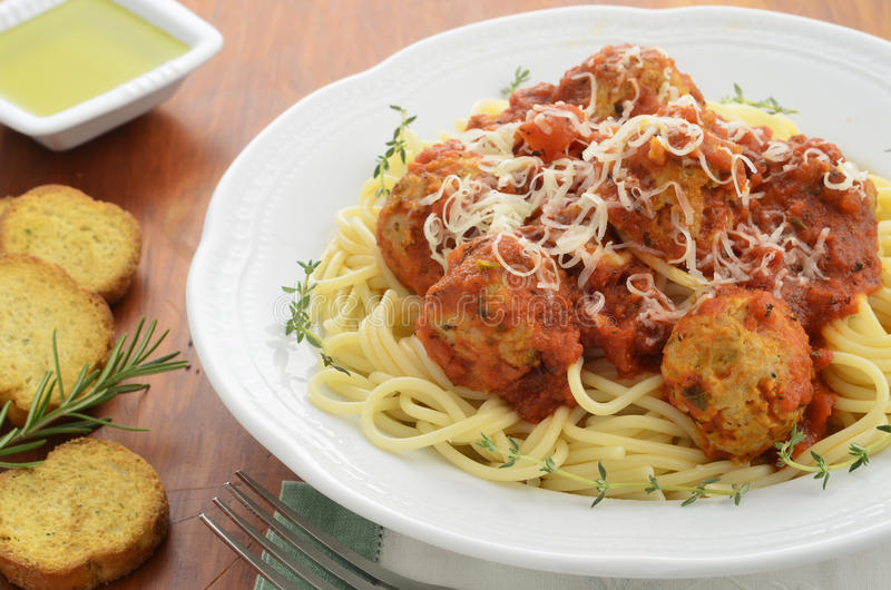 Download Spaghetti With Turkey Meatballs Stock Image - Image of sauce, thyme: 38119077