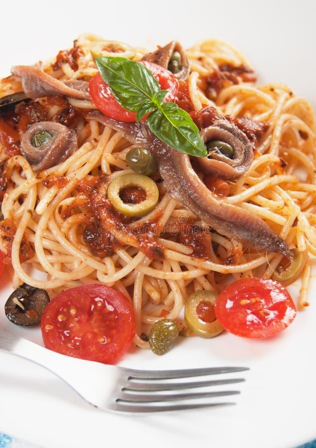 Spaghetti un puttanesca della La fotografia stock libera da diritti