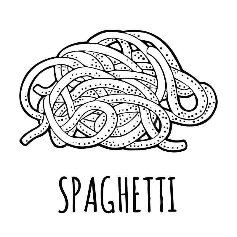 Spaghetti. Vector vintage engraving black illustration isolated on white background. royalty free illustration