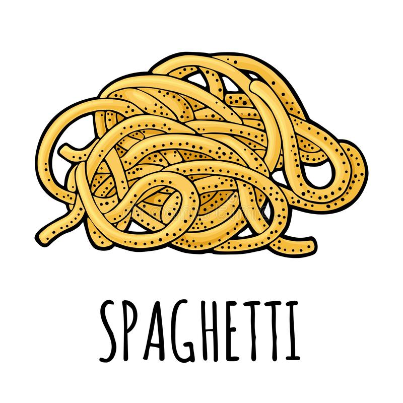 Spaghetti. Vector vintage engraving color illustration isolated on white background. Hand drawn design element stock illustration
