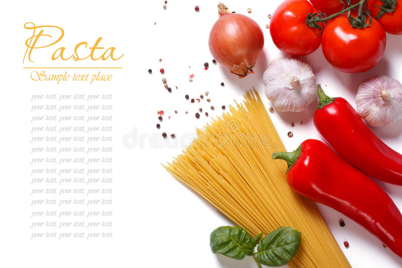 Spaghetti and vegetables for pasta cooking isolated stock photography