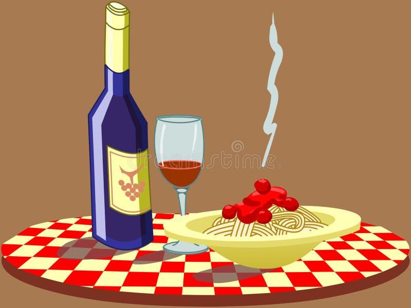 spaghetti wino royalty ilustracja