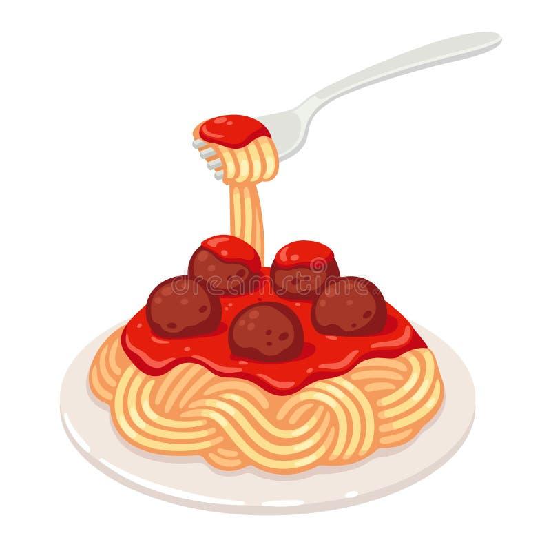Spaghetti z klopsikami ilustracja wektor