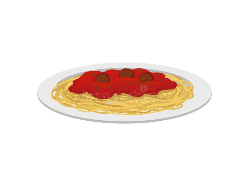 Spaghetti z klopsikami t?a ilustracyjny rekinu wektoru biel royalty ilustracja