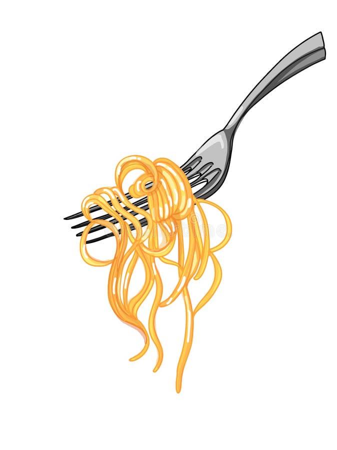 spaghettideegwaren en het beeldverhaal witte van de achtergrond vorkillustratie beeldverhaalillustratie royalty-vrije stock foto's
