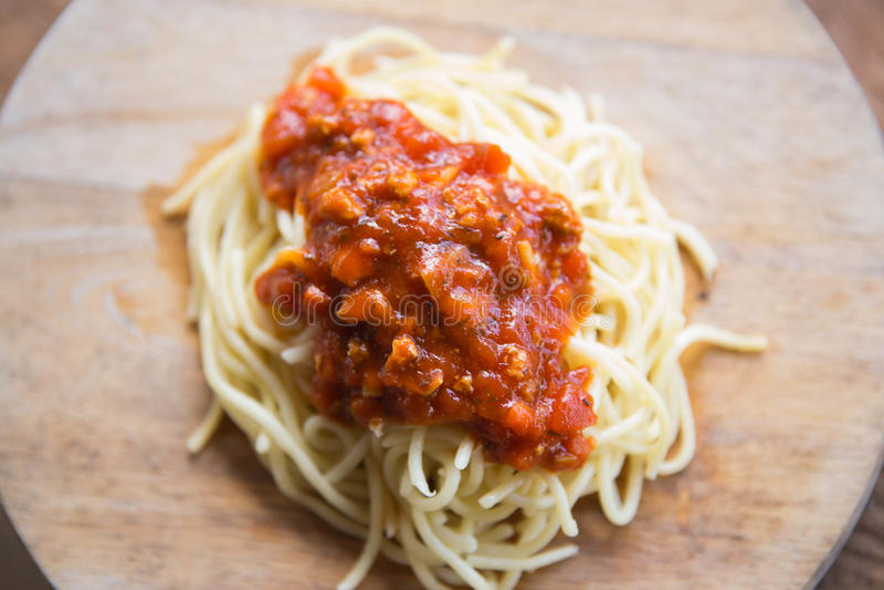 Spaghettiketchup stock foto's