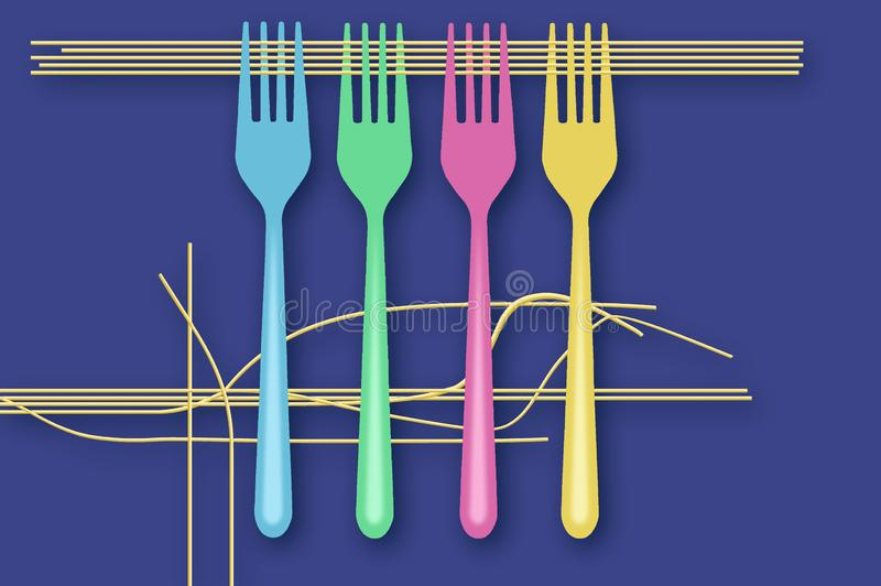 Spaghettis und Gabeln werden in dieser Lebensmittelillustration auf einem blauen Hintergrund dargestellt werden in dieser Illustr stock abbildung