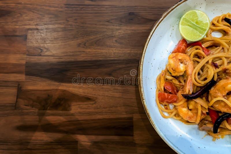 Spaghettitom-yum mun kung stockbilder