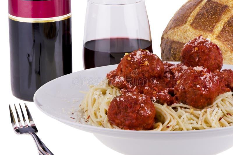Spaghettivleesballetjes stock afbeelding