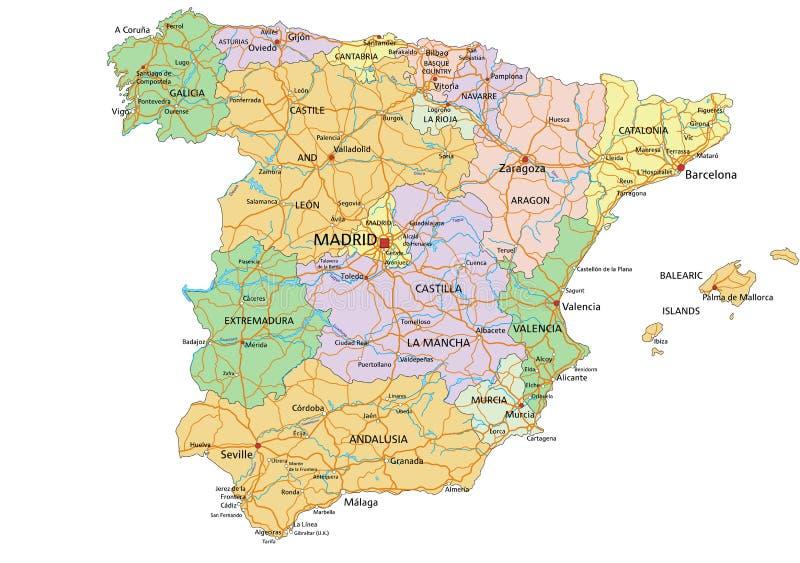 Cartina Spagna Politica Da Stampare.La Mappa Politica Della Spagna Molto Dettagliata E Modificabile Illustrazione Vettoriale Illustrazione Di Geografico Europa 186701101