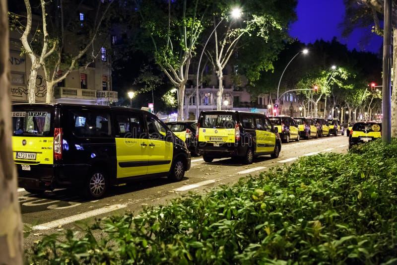 Spain's big taxi strike, Barcelona. Barcelona, Spain - July 30, 2018: Spain's big taxi strike over Uber and Cabify in Madrid and Barcelona stock photos