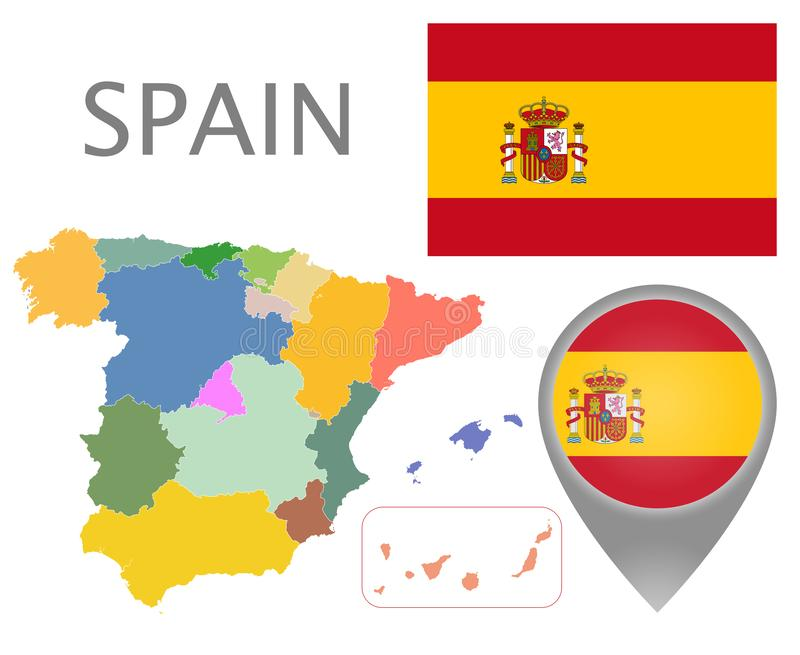 Spain flag, map pointer and map with administrative divisions stock illustration