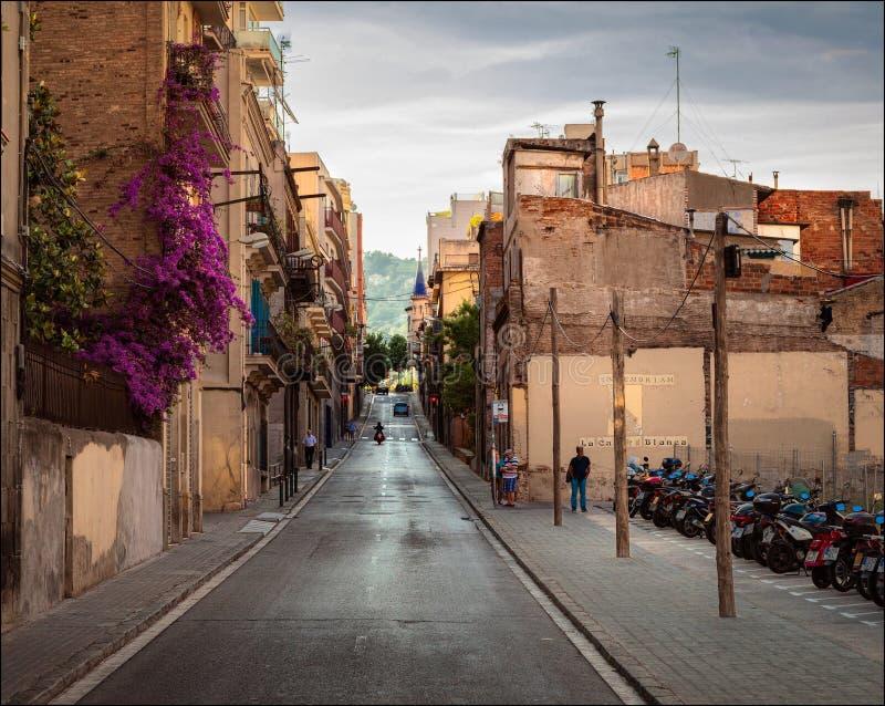 spain Afton i Barcelona arkivfoton